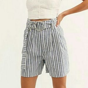 Free People striped high rise shorts
